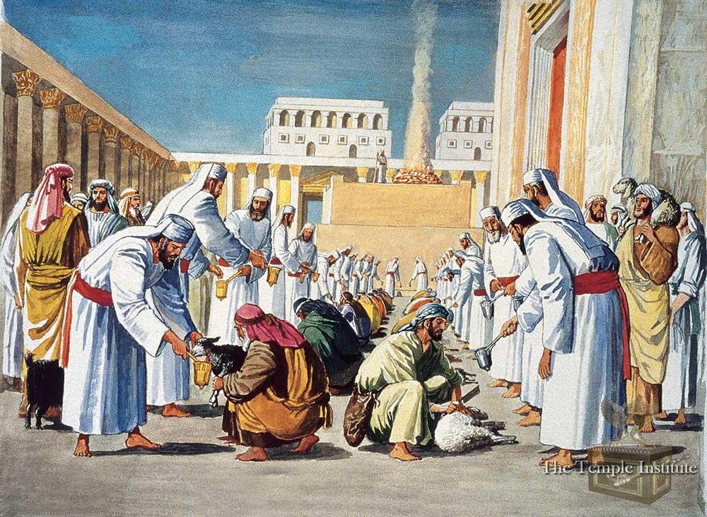 The kohanim pass the blood in the mizrak